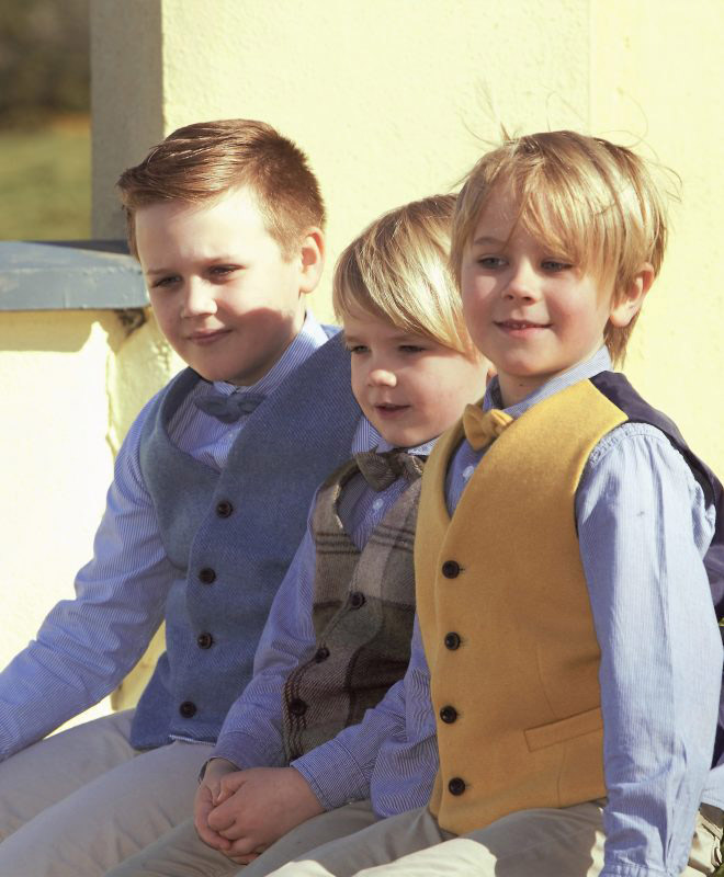 Boys Irish tweed waistcoats €69.95 with matching bow-tie €25.95 100% Lambswool Size 1-2, 2-3, 3-4, 4-5, 5-6, 6-7, 8-9, 10-11