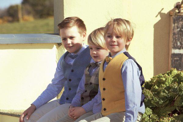 Boys Irish tweed waistcoats €69.95 with matching bow tie €25.95 100 Lambswool Size 1 2 2 3 3 4 4 5 5 6 6 7 8 9 10 11 scaled Boys Mustard Irish Tweed Waistcoat