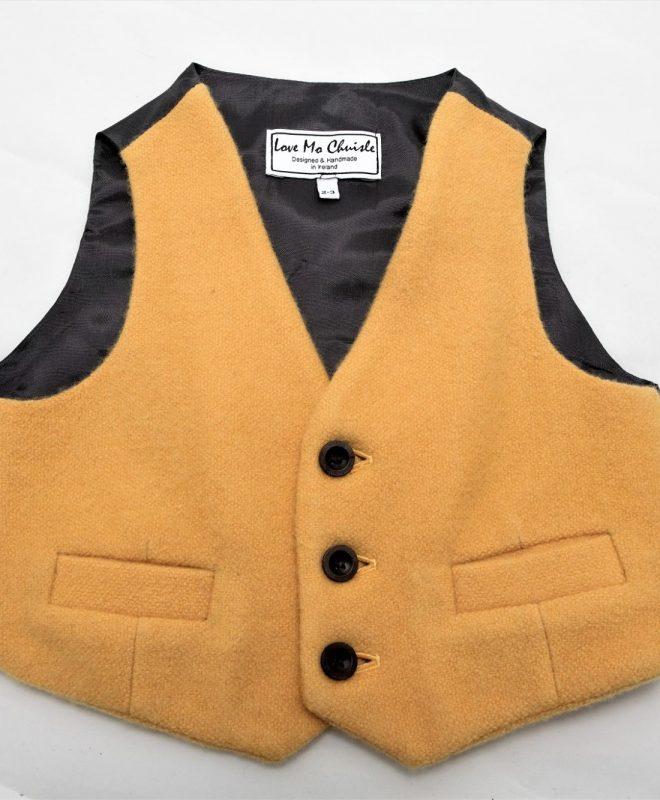Boys Mustard Irish tweed waistcoat €69_opt