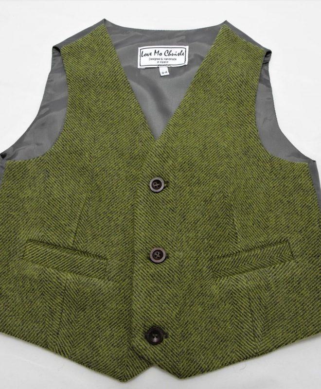 Boys palm green herringone Irish tweed waistcoat €69_opt