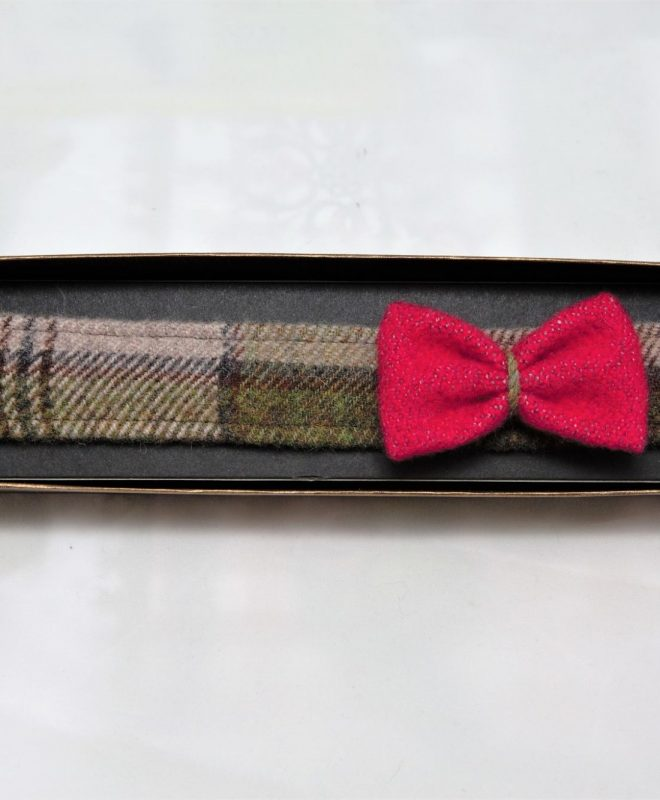 Irish tweed autumn plaid hairband with raspberry bow €14_opt