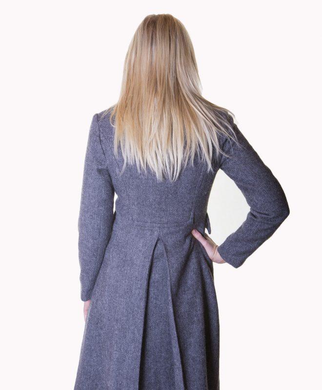 Ladies grey herringbone tweed coat €329 Size XS - XL Back View