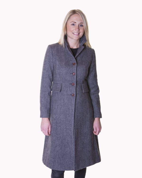 Ladies grey herringbone tweed coat €329 Size XS XL Front View Ladies Irish Tweed Grey Herringbone Coat