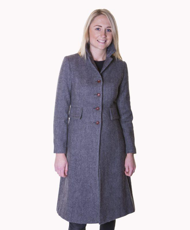Ladies grey herringbone tweed coat €329 Size XS - XL Front View