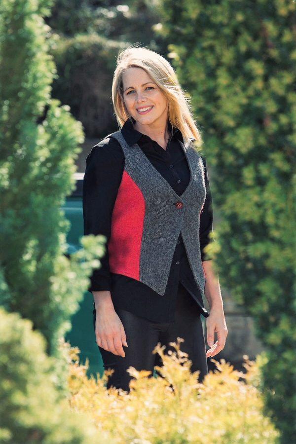 Ladies tweed grey raspberry herringbone waistcoat 2 Ladies Grey Herringbone and Raspberry Tweed Waistcoat