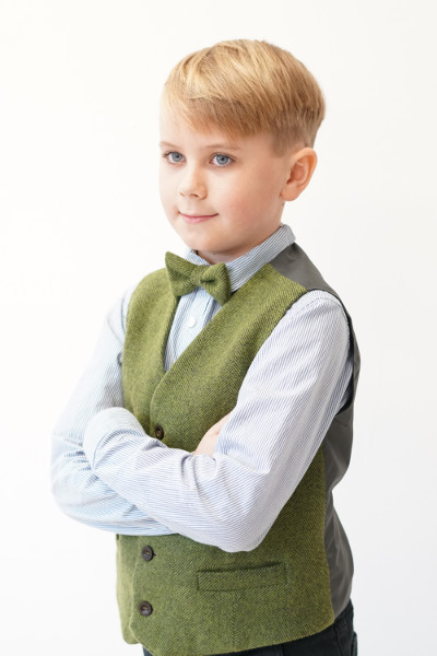 Love Mo Chuisle Boys 1 green herringbone waistcoat €69.95 Boys Palm Green Irish Tweed Waistcoat