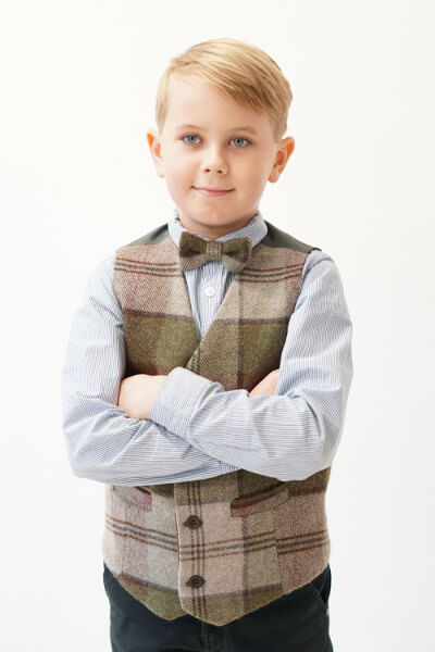 Love Mo Chuisle Boys 2 Autumn plaid waistcoat €69.95 Boys Autumn Plaid Irish Tweed Waistcoat