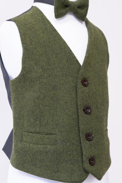 Love Mo Chuisle - Boys 4 Green herringbone waistcoat €69.95