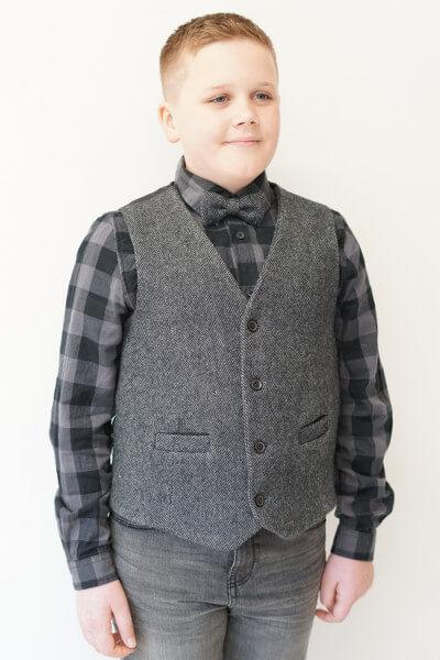 Love Mo Chuisle Boys grey herringbone waistcoat €69.95 Boys Grey Herringbone Irish Tweed Waistcoat