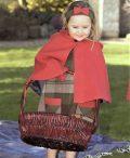 Luxury handmade girls Irish Tweed Cape in Raspberry