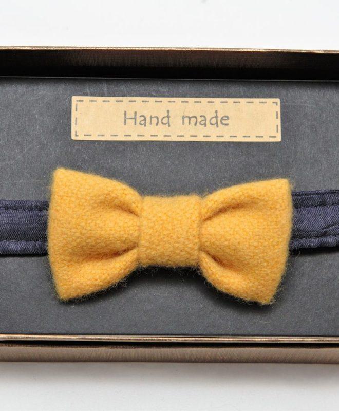 Boys Irish tweed bow-tie mustard
