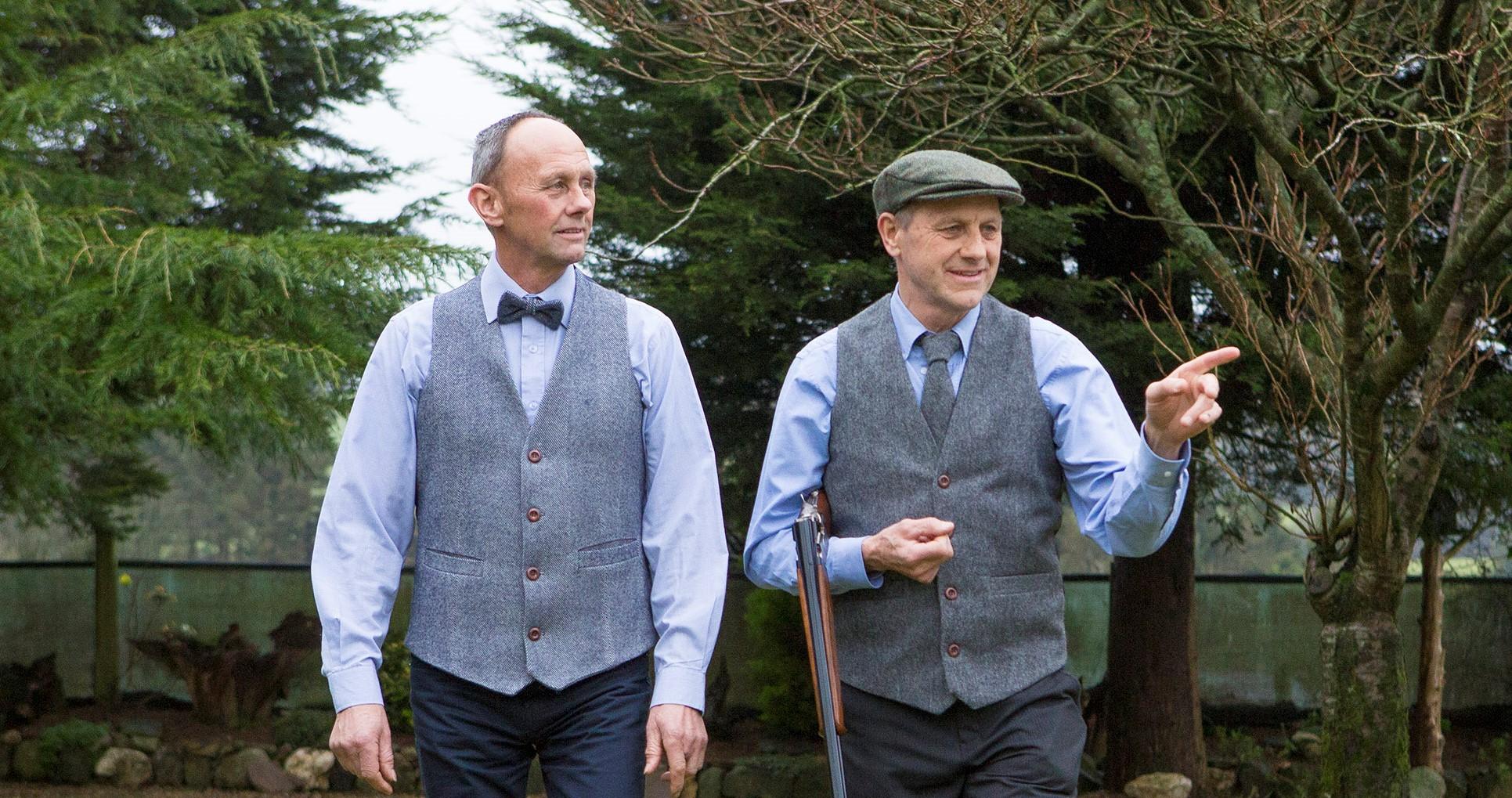 Men's Irish tweed waistcoat grey herringbone. Made in Ireland 100% Lambswool