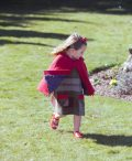 Girls Irish tweed raspberry cape and autum plaid dress with contrasting patch pocket panel 100% Lambswool