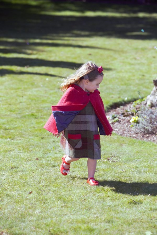 Girls Irish tweed raspberry cape and autum plaid dress with contrasting patch pocket panel 100 Lambswool scaled Girls Irish Tweed Raspberry Cape with Hood