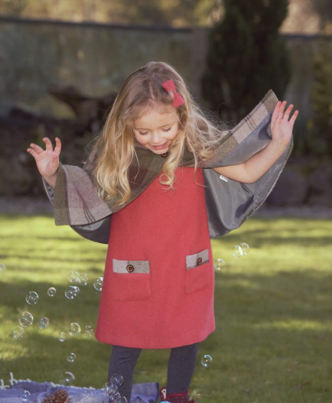 Girls Irish tweed raspberry dress with autumn plaid cape 100% Lambswool