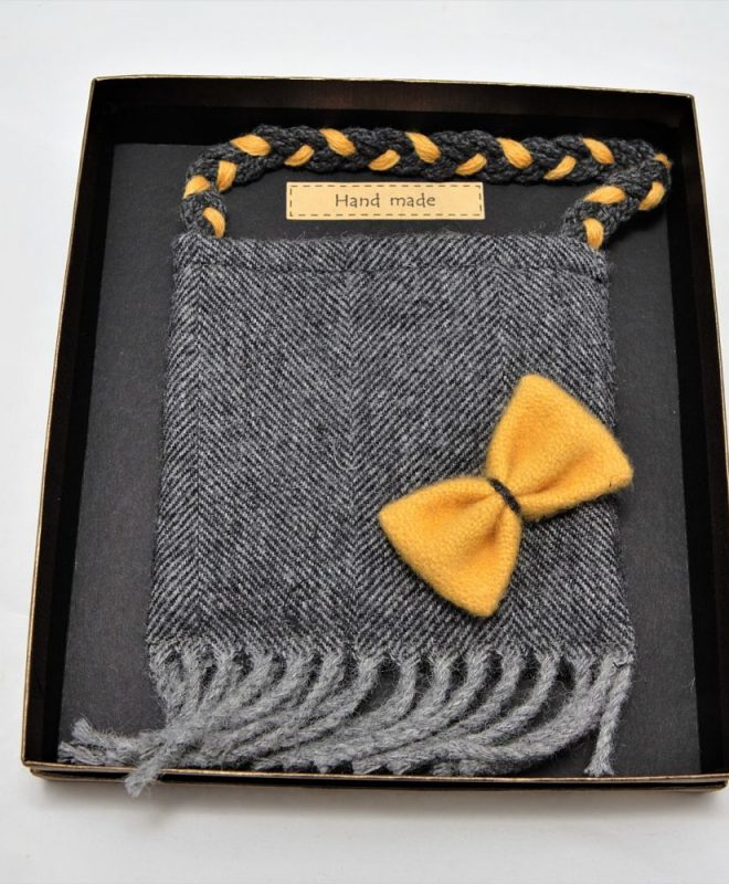 Irish tweed grey herringbone pouch bag with mustard bow_opt