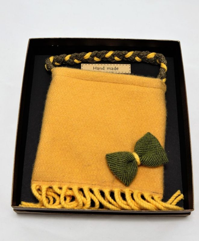 Irish tweed mustard pouch bag with palm green bow_opt