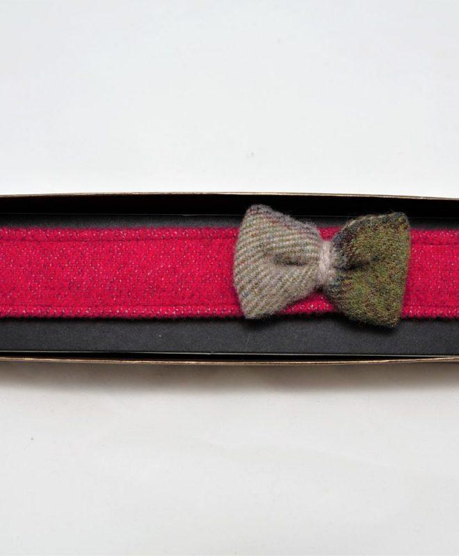 Irish tweed raspberry hairband with autumn plaid bow €14_opt