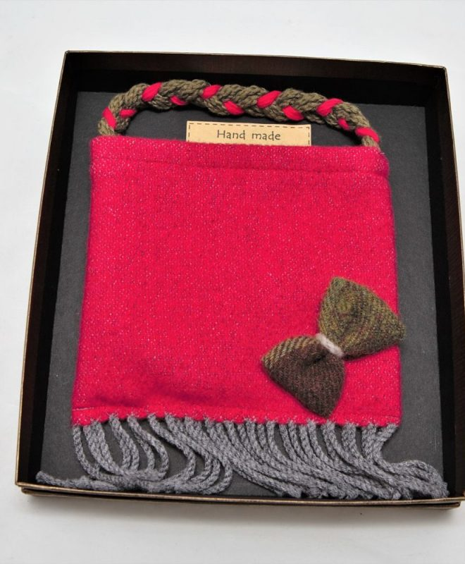 Irish tweed raspberry pouch bag with autumn plaid bow_opt