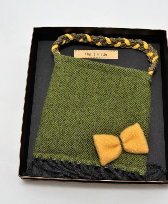 Irish tweedpalm green pouch bag with mustard bow_opt