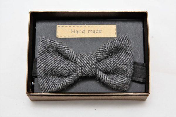 Mens grey herringbone Irish tweed bow tie €39 opt Mens Irish Tweed Bow-Tie Grey Herringbone