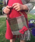 Girls Irish tweed bag autumn plaid and raspberry1