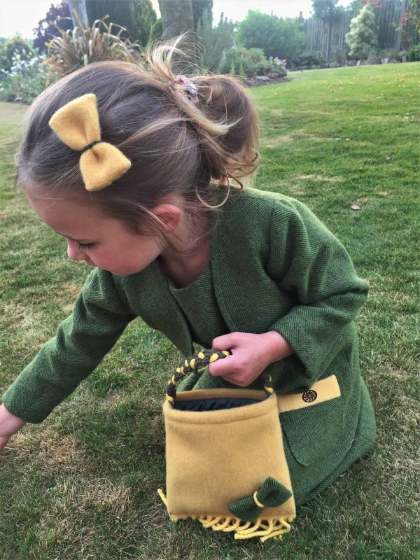 Girls Irish tweed bag mustard and palm green scaled Girls Irish Tweed Bag mustard with Palm Green Bow