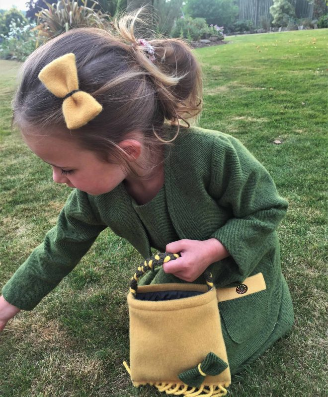 Girls Irish tweed bag mustard and palm green