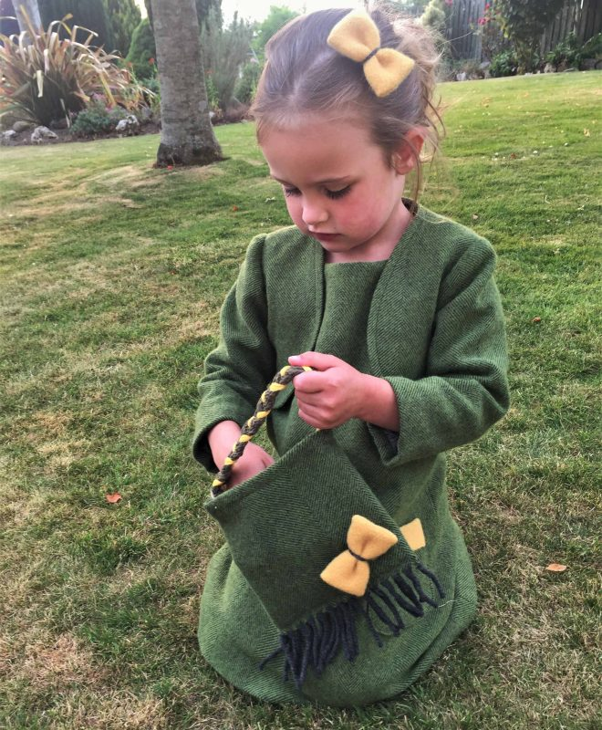 Girls Irish tweed bag palm green and mustard