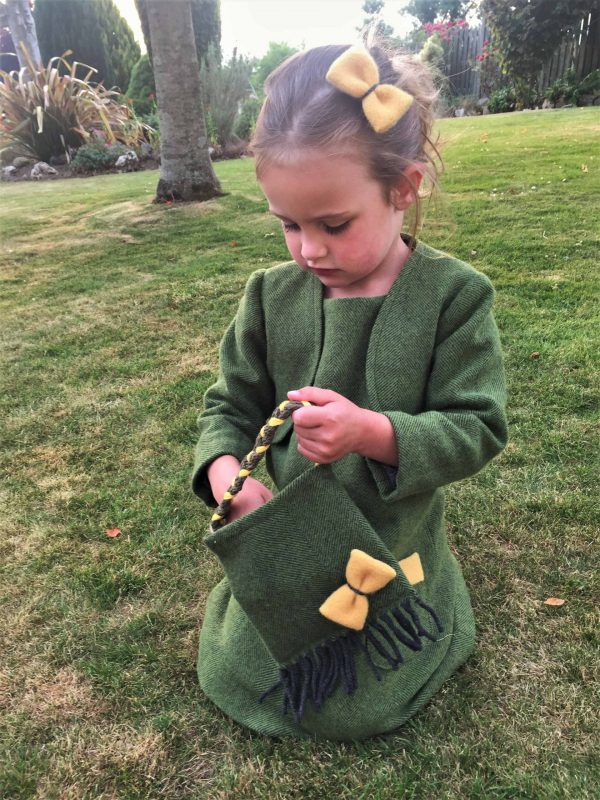 Girls Irish tweed bag palm green and mustard scaled Girls Irish Tweed bag palm green with mustard bow