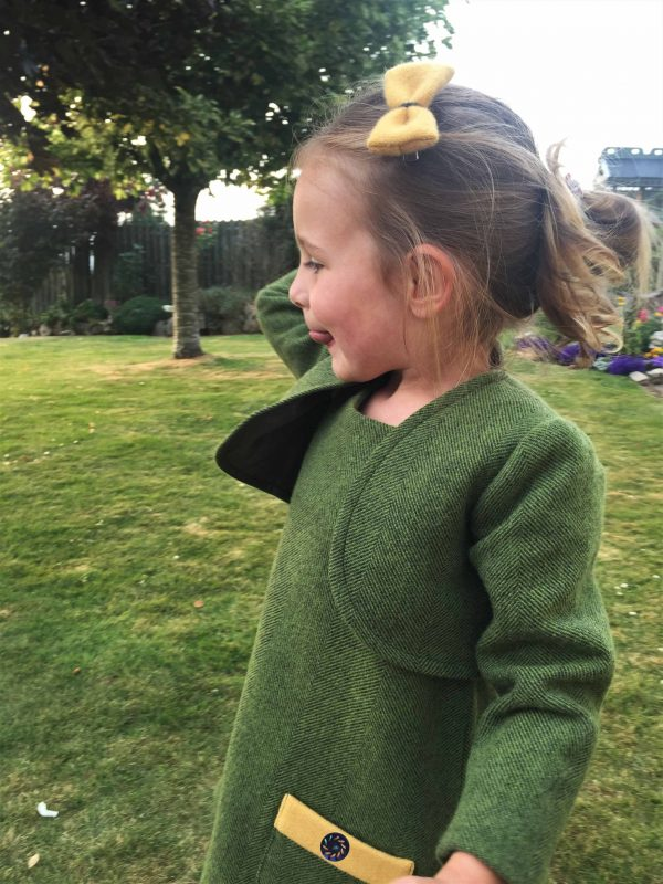 Girls Irish tweed bolero Palm green 1 scaled Girls Irish Tweed Bolero Palm Green