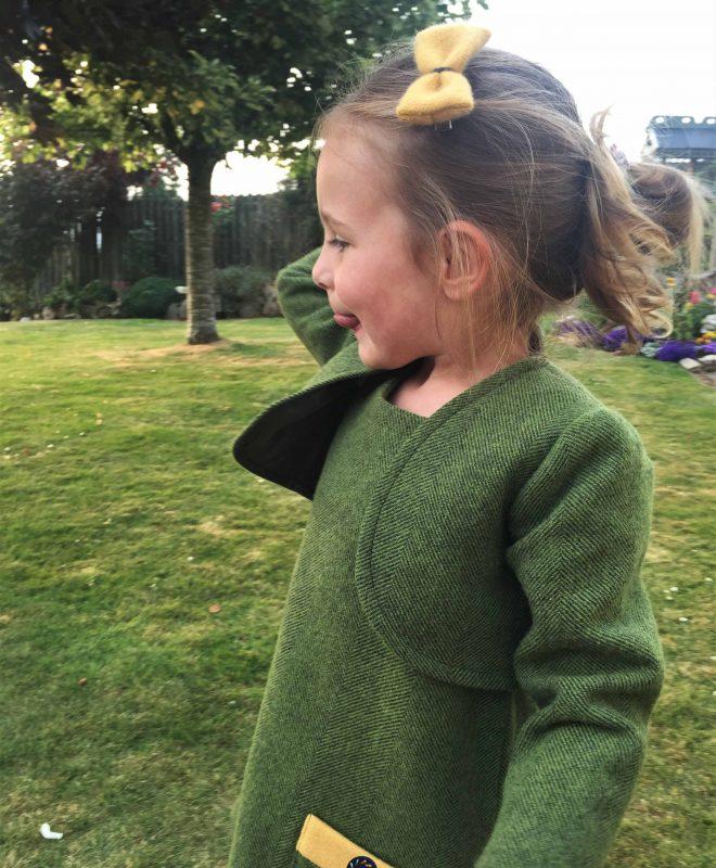 Girls Irish tweed bolero Palm green 1