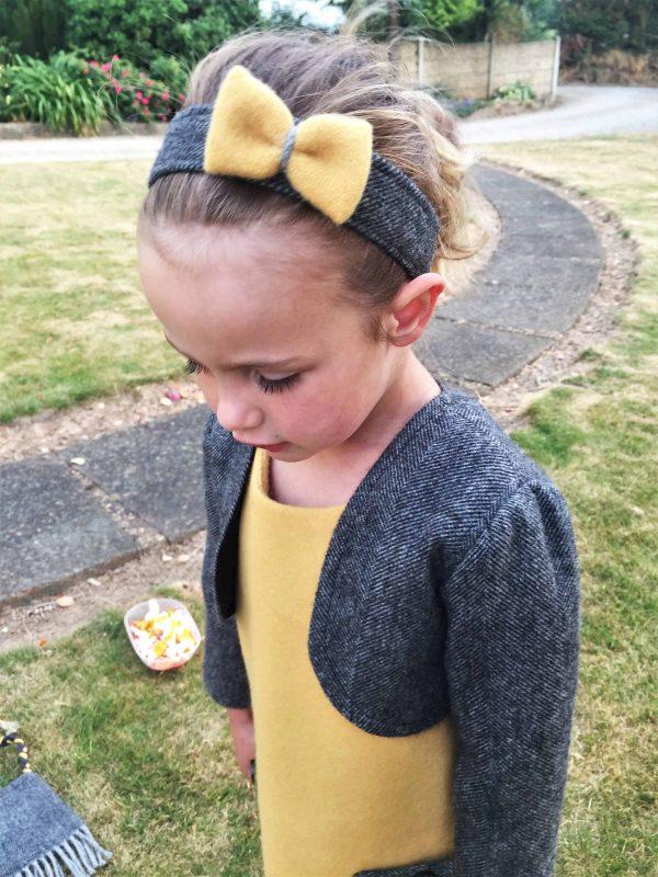 Girls Irish tweed bolero grey herringbone and mustard 1 scaled Girls Irish Tweed hairband Grey Herringbone with Mustard Bow