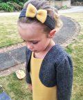 Girls Irish tweed bolero grey herringbone and mustard
