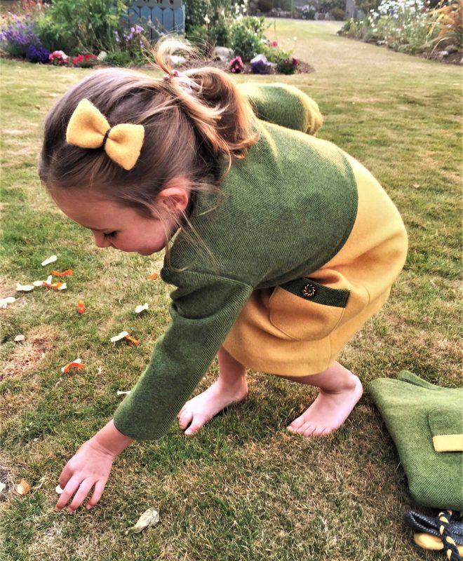 Girls Irish tweed bolero palm green3