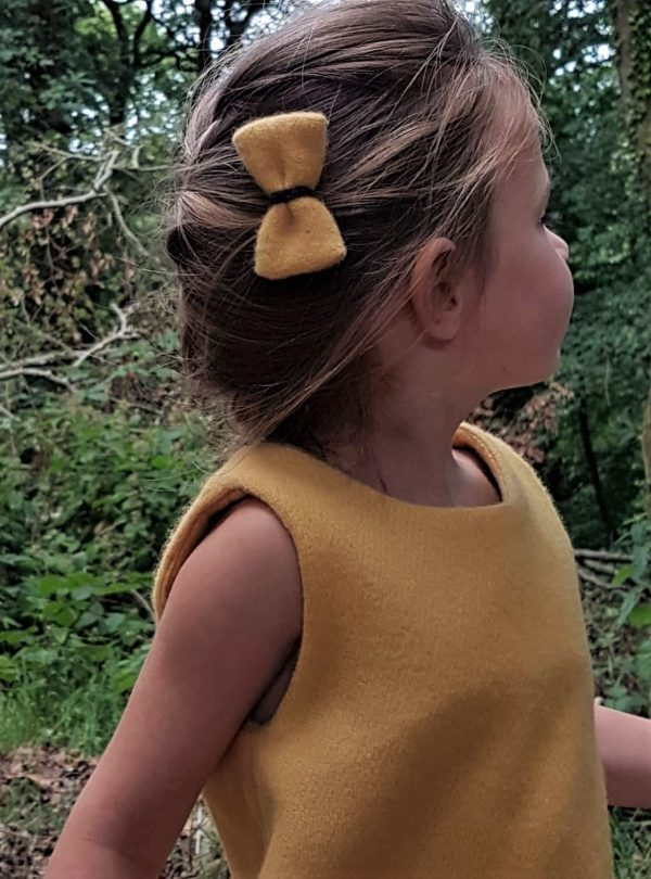 Girls Irish tweed bow hair clip mustard 2 Girls Irish Tweed bow hair grips Mustard with Charcoal Contrast