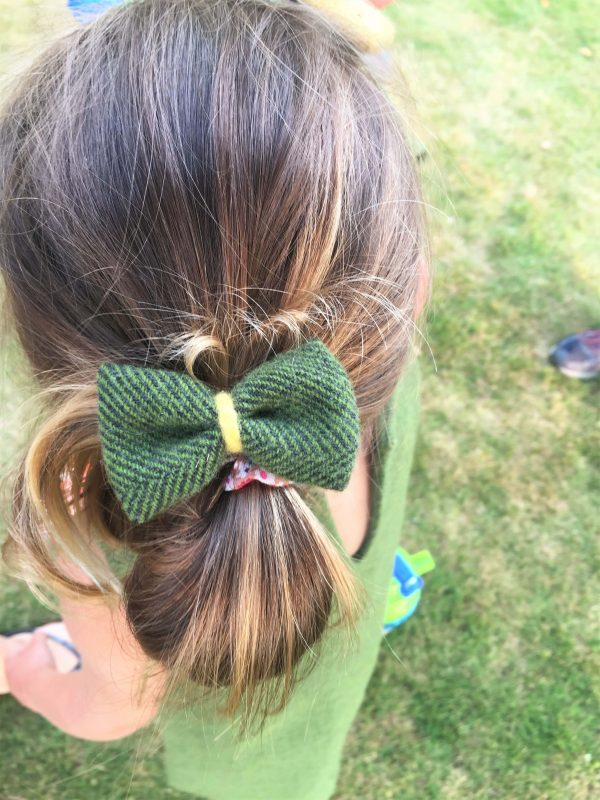 Girls Irish tweed bow hair clips palm green scaled Girls Irish Tweed bow hair grips Palm Green with Mustard Contrast