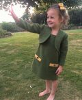 Girls Irish tweed dress Palm green and mustard