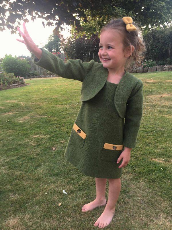 Girls Irish tweed dress Palm green and mustard 1 scaled Girls Irish Tweed Dress Palm Green