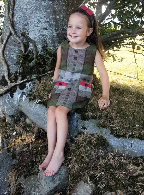 Girls Irish tweed dress autumn plaid and raspberry 1 Girls Irish Tweed Autumn Plaid Dress