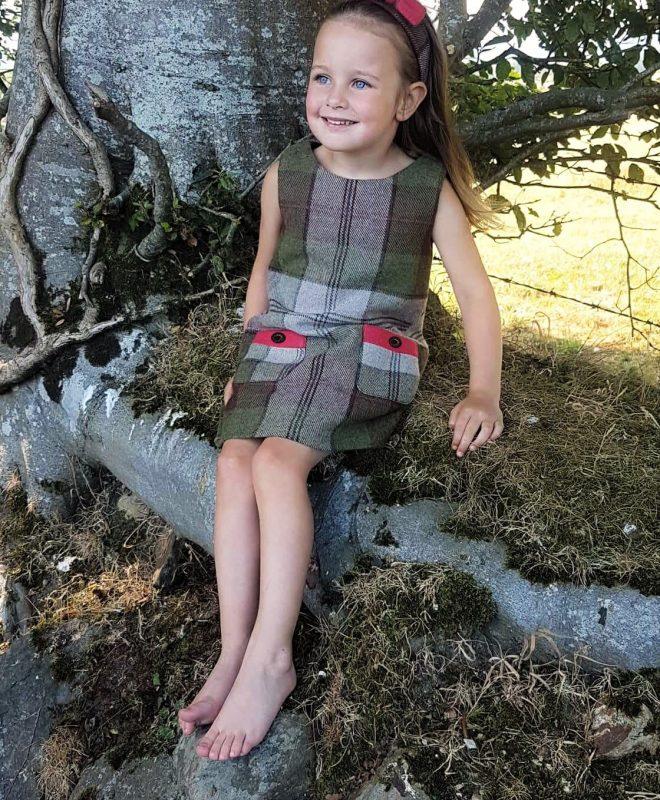 Girls Irish tweed dress autumn plaid and raspberry