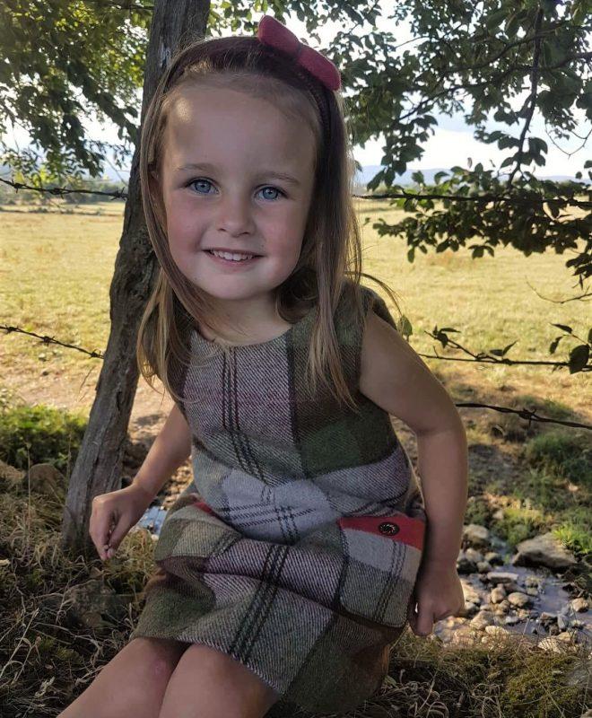 Girls Irish tweed dress autumn plaid and raspberry 4