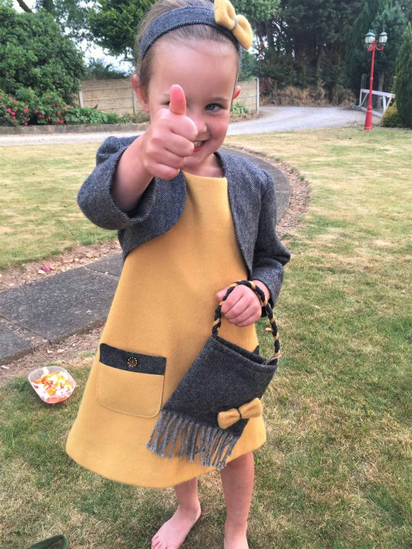 Girls Irish tweed dress mustard and grey herringbone scaled Girls Irish Tweed bag Grey Herringbone with Mustard Bow