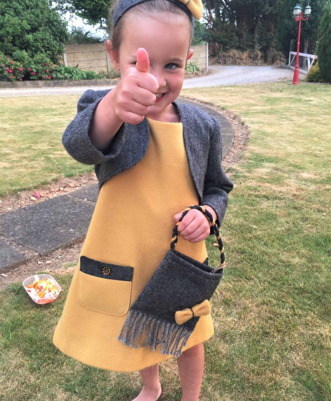 Girls Irish tweed dress mustard and grey herringbone