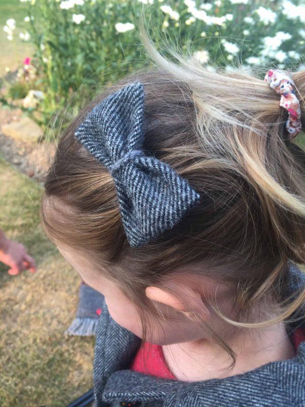 Girls Irish tweed hair grips grey herringbone scaled Girls Irish Tweed Bow Hair Grips Grey Herringbone