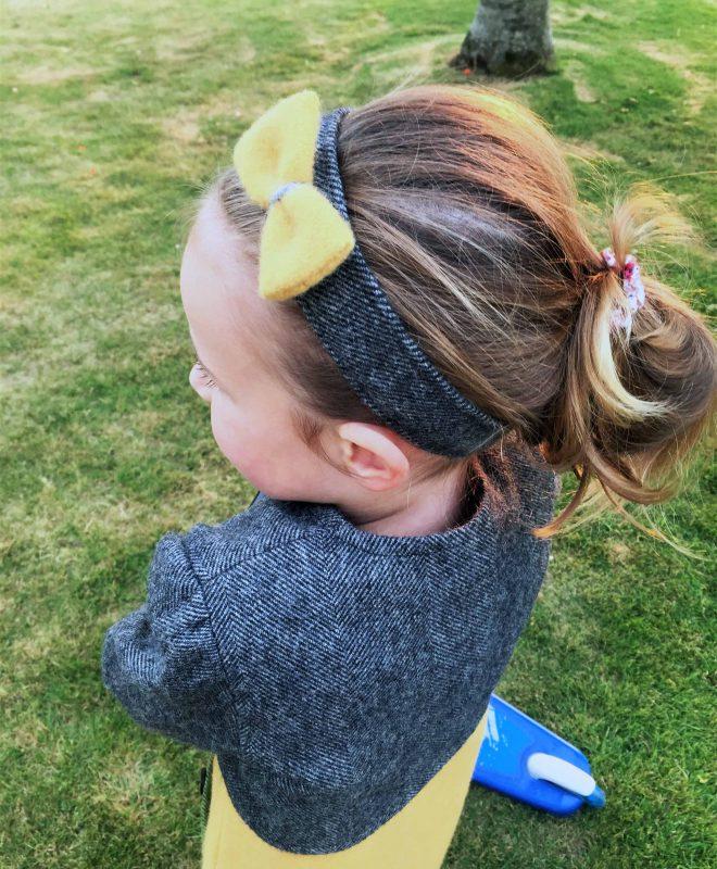 Girls Irish tweed hairband grey herringbone and mustard