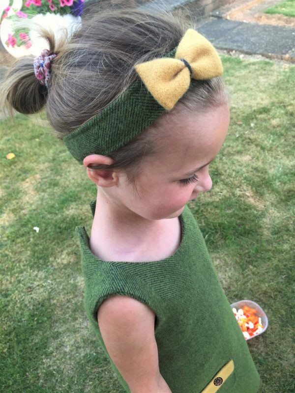 Girls Irish tweed hairband palm green an mustard 1 scaled Girls Irish Tweed Hairband Palm green with Mustard Bow