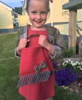 Girls irish tweed bag raspberry and autumn plaid
