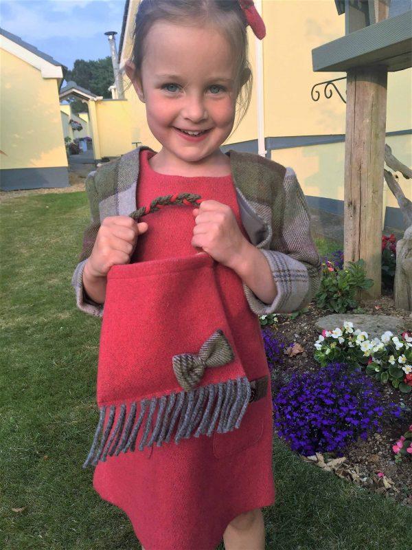 Girls irish tweed bag raspberry and autumn plaid scaled Girls Irish Tweed bag Raspberry with Autumn Plaid Bow