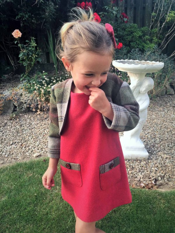 Girls irish tweed dress raspberry and autumn plaid scaled Girls Irish Tweed Dress Raspberry with Autumn Plaid